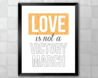 Hallelujah – Love is not a Victory March – Song Lyric Quote 8x10 11x14 Typography Wall Art Print