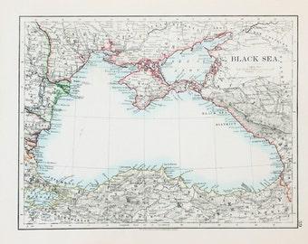 Johnston 1903 Antique Map  - Black Sea, Crimea , Ukraine - Caspian Sea, Russia