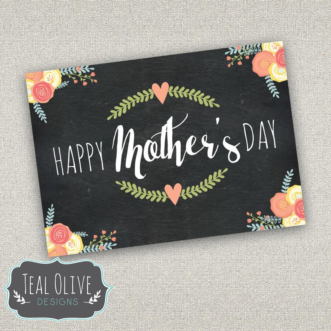 mother's day card printable diy modern chalkboard