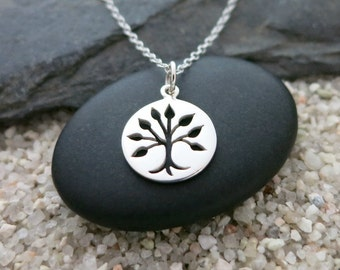 Silver Tree of Life Necklace, Sterling Silver Tree Charm, Nature Jewelry