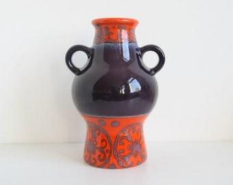 Dümler & Breiden 302/21 Vase West German Pottery purple orange