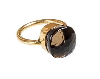 Ring with smoky quartz