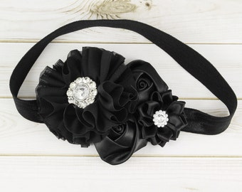 Baby Headband, Black Baby Headband, Baby Headband, Couture Headband, Flower Girl Headband, Newborn Headband, Toddler Headband, 1st Birthday