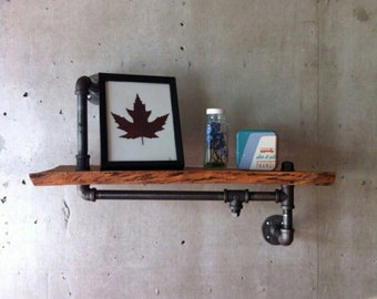 Reclaimed wood shelf with Industrial pipe arms SOLD
