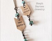 2 'soul sisters' necklaces in bronze with turquoise detail