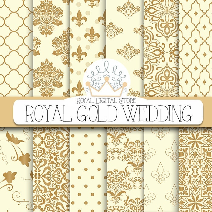 Wedding Digital Paper Royal Gold Wedding Digital