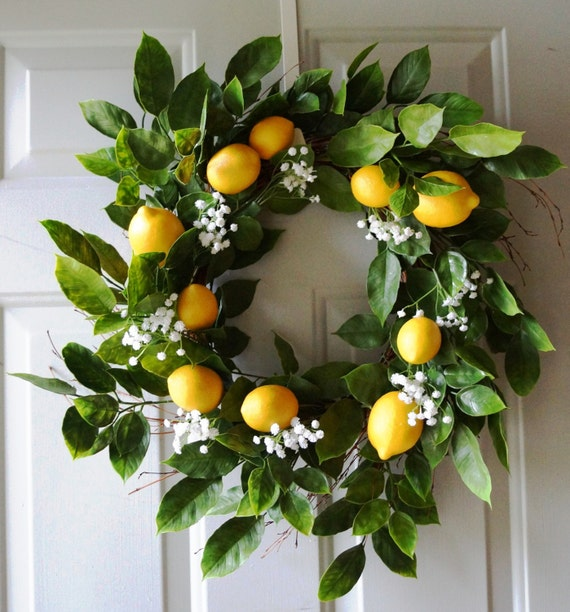 Summer Wreath Door Wreath Lemon Fruits Wreath Lemons