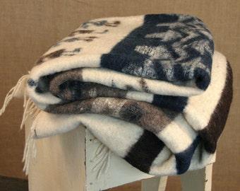 Vintage Blue and Cream Wool Blanket with Fringe