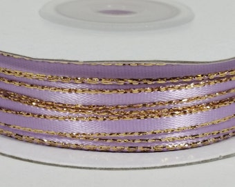 "1/8"" Satin Ribbon with Gold Edge - Lavender"
