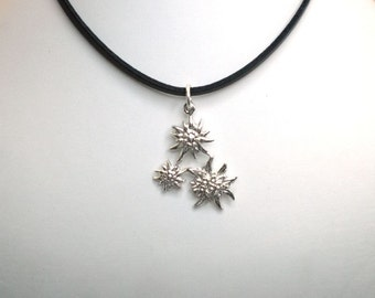 pendant edelweiss silver with traditional edelweiss flower design in sterling silver 925