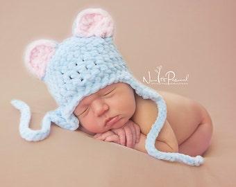 Hand Crochet Baby Hat  Ear Flap Teddy Bear Chunky Photography/Photo Prop Newborn-12 Months Ultra Soft  Baby Boy UK Seller Blue