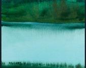 Lake abstract watercolor. Original painting.