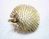 14K Gold & Sterling Ruby Eyed Hedgehog Porcupine Brooch Signed