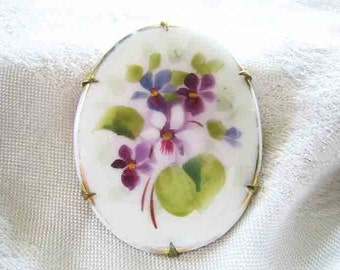 Victorian 1910 Violets Flowers Painted On Porcelain Brooch