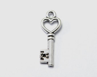 50pcs Heart Key Charms in Antique Silver, Key To My Heart Pendants, Skeleton Key, Love Charms #SD-S6911