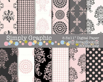 Pink Damask Digital Paper Pack, Instant Download, Scrapbooking, Printables, Wedding Invitation, Baby Shower, Background, Pink and Grey p044a