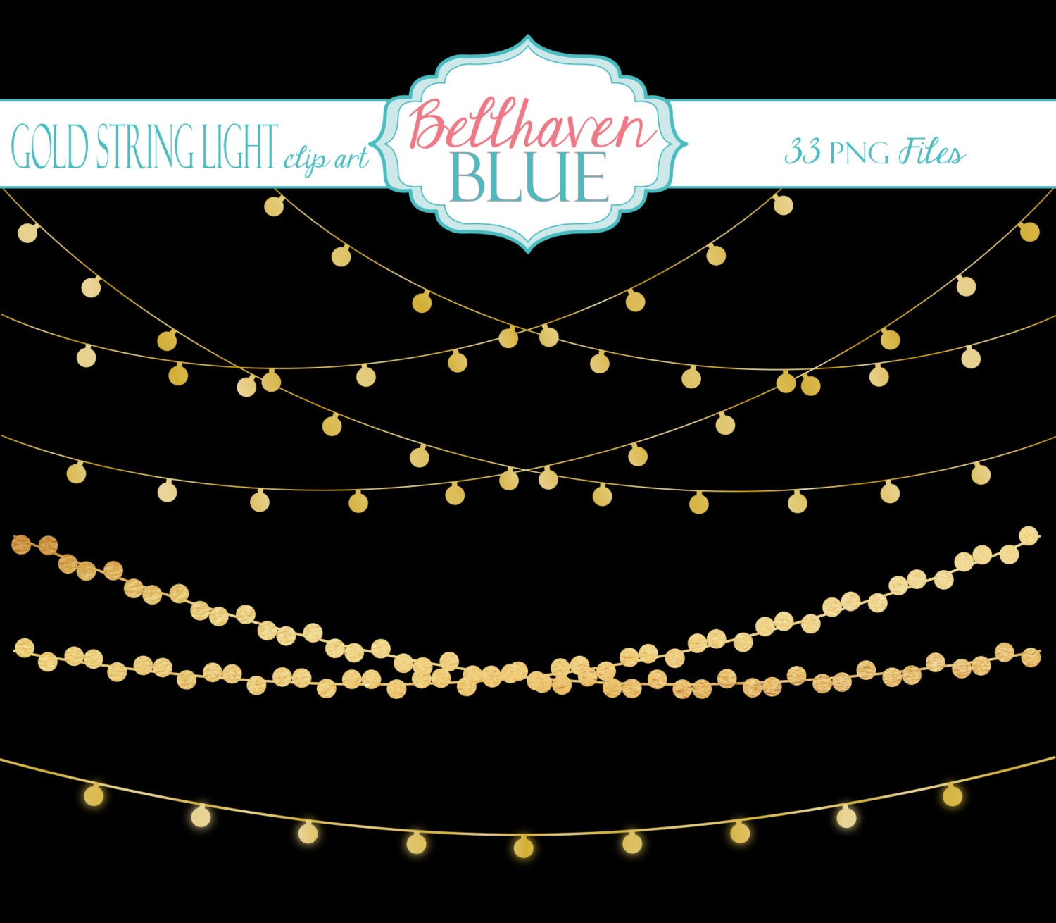 Gold String Light Clipart by BellhavenBlue on Etsy