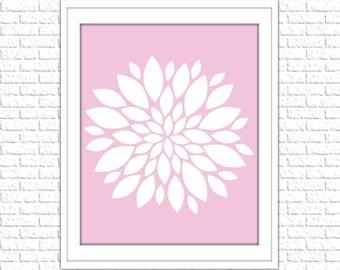 Floral Print | 8x10 Printable Art Print | Home Wall Art | Home Printable | Dahlia Subway Art | Instant Download Printable, Pink, Rose