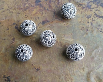 6 Intricate hand made antique  silver Bali beads. 925 sterling  silver. #1977