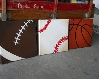 Sports Themed Square Paintings - Football, Soccer, Basketball, Baseball - Junior Varsity Wall Decor Art for Nursery, Kids Room