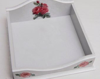 MDF decoupage napkin holder, hand painted and decorated.