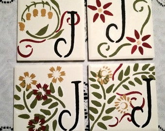 Ceramic Customized Burgundy, Green, and Gold  Floral Coasters