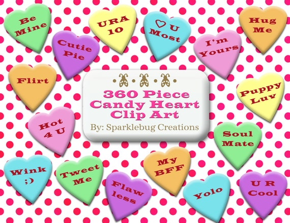 Items similar to Candy Heart Clip Art Sweetheart Candy ...