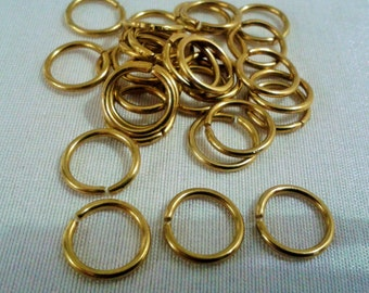 100 Pcs Raw Brass 11  mm Strong Jump Ring Connector ,Findings -1 mm of Thickness