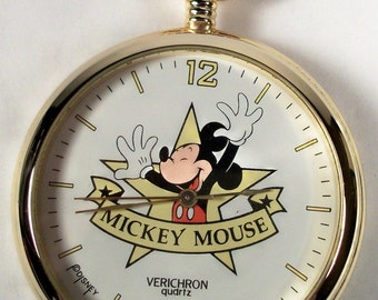 New Vintage Mickey Mouse Pocket Watch!  HTF! Gorgeous!