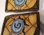 Two Custom Full-Sized Hearthstone Fireside Clay Cardbacks