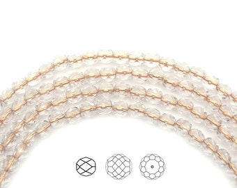Crystal Gold Bronze Lined, Czech Fire Polished Round Faceted Glass Beads, 4mm, 6mm, 8mm on 16 inch strand, Czech Glass Fire Polish Beads