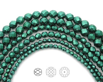 Czech Glass Fire Polished Beads in Green Carmen Metallic Pearl, Faceted Pearls, 4mm, 6mm, 8mm