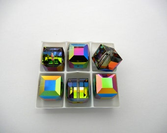 6 rare Swarovski Crystal Cube Beads #5601 in 12mm Crystal Vitrail Medium