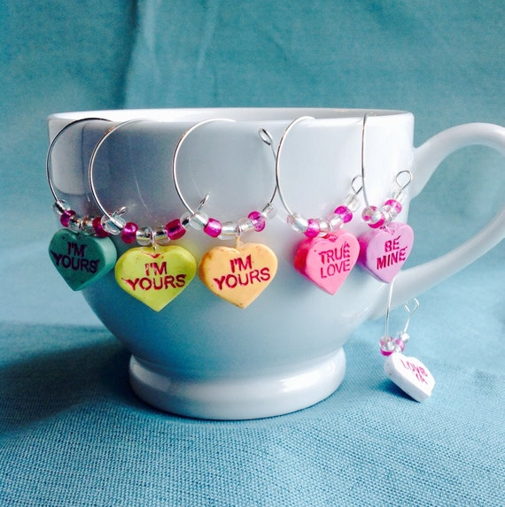 Conversation Heart Wine Charms, Set of 6, Coffee Mug or Champagne Glass Charm, Candy, Pink, Purple, White, Green, Yellow, Orange, Valentine