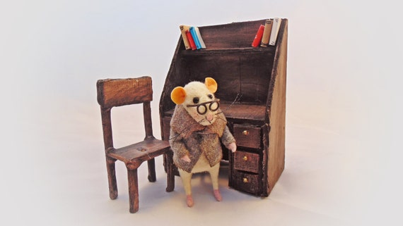 Mr. Mouse in his cabinet Needle Felted Miniature Collectible Soft Sculpture Art Doll Waldorf Animal Felt Mice Mouse