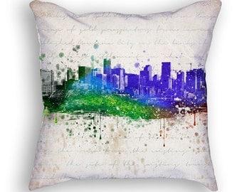 Denver Colorado Skyline Throw Pillow, 18x18, Cushion Home Decor, Gift Idea, Pillow Case