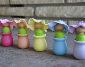Flower Fairies and Pots Matching Game- Set of 5 - A Waldorf and Montessori Inspired Wooden Educational and Fairy Toy - Easter Gift