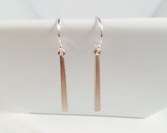 Matte Silver Bar Earrings