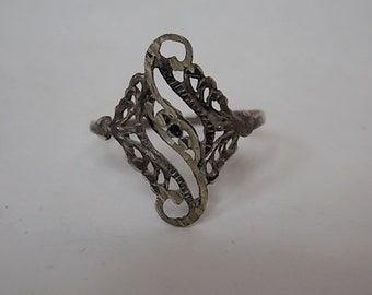 Victorian Style Sterling Silver Filigree Ring 1.46g E1533