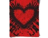 Fleece Blanket-Red Black Heart-Tie Dye Blanket-Hippie-Winter Cozy Warm-Decorative Fleece Blanket-Baby Blanket-Medium Large Blanket