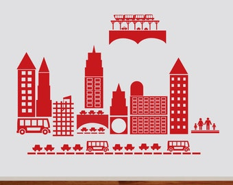 Busy Transportation Town Decal - City Scape Wall Art - City Wall Art - City - Boys - Modern Vinyl Art - Kids Wall Decals - Wall Vinyl