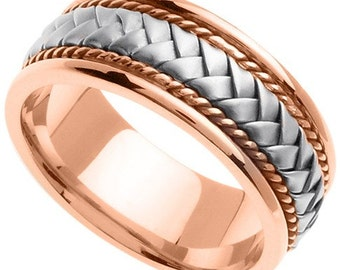 Handmade Woven 14k Two-Tone Gold Band (8MM)