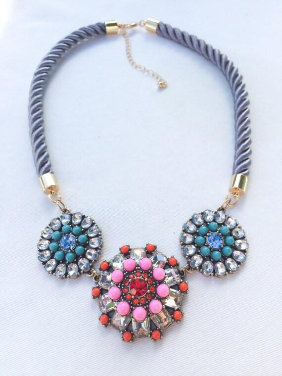multi color floral statement necklace by missjensensboutique
