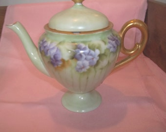 Vintage Hand-painted Teapot - Violets - Unmarked