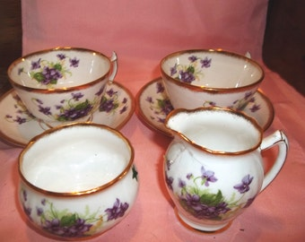 Vintage Tea Set for Two - Phoenix Bone China - Violets