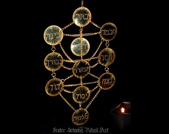 Tree of Life decoration, Sephiroth pendant, Kabbalistic art, wall decor, magick and occult instrument, hebrew letters, עץ החיים