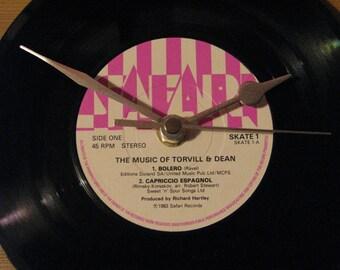 """Torvill & Dean ravel's bolero 7"""" vinyl clock"""