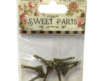 Dovecraft Sweet Paris 8 Metal Eiffel Tower Charms