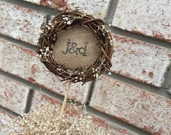 Rustic Cake Topper - Wreath Cake Topper - Grapevine Cake Topper - Country Wedding Cake Topper - Outdoor Wedding - Personalized Cake Topper