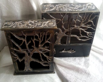 "Set of key holder and mini-chest of drawers ""The Tree of Life""."
